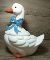 "Vintage Holiday Goose with Blue Bow Tie Cookie Jar Roughly 13 3/8"" Tall"