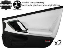 BLACK & WHITE LEATHER 2X FULL DOOR CARD COVERS FITS NISSAN GT-R GTR R35 09-2017