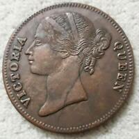 1818 queen victoria 1 one anna east india company uk rare palm size temple coin