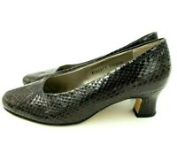 "Ros Hommerson 6.5 Extra Wide Shoes Brown Snake Print Leather 2"" Pumps Heels"