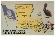 Map of Louisiana, Shreveport & New Orleans Baton Rouge, Pelican, Flag - Postcard