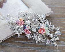 Bridesmaid Bridal Wedding Silver Austrian Crystal Multicolour Rose Hair Comb