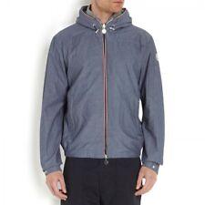 Moncler Men's Urville Blue Cotton Chambray Full Zip Packable Hooded Jacket - 3