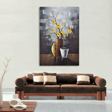 Original Hand Paint Oil Painting on Canvas Wall Art Home Decor Brown Floral Pic