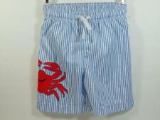 New J Khaki Blue & White Oxford Striped CRAB Swim Trunks w/ Mesh Liner, Sz 4T