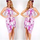 TEABERRY Abstract Print Asymmetrical Hemline Dress SIZES 8 10 12 14 16