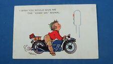 Vintage Motoring Comic Postcard 1930s Motorcycle Motorbike Bike Traffic Lights