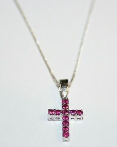 Nice Quality 18ct White Gold Ruby Cross & Chain 0.25cts