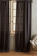 "NEW Anthropologie Linen Tie Top Curtain Panel - 50"" x 63""- Dark Gray"