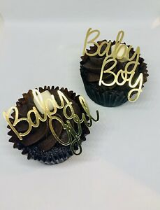 FOIL BABY GIRL BABY BOY TWINS GENDER REVEAL BABY SHOWER CUPCAKE TOPPERS GLITTER