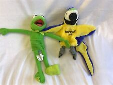 "12"" Slinky Kermit  1999 & 13"" Parrot Puppet"
