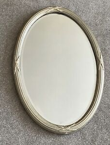 Antique Mirror Oval 1920s 1930s Art Deco Bevelled Plaster Gilded Ribbed Retro