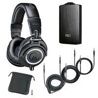 Audio-Technica ATH-M50x Headphones w/3x Cable + Fiio A3-Portable Headphone Black