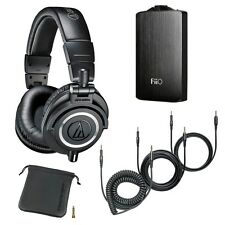 Audio-Technica ATH-M50x Headphones w/3x Cable + Fiio A3-Portable Headphone Black