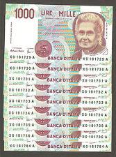 1x 1.000 lire 1000 MONTESSORI serie speciale sostitutiva XG FDS CONSECUTIVE UNC