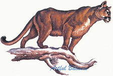 Ceramic Decals Cougar Animal on Branch Scene