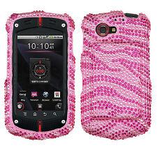 Casio G'zOne Commando 4G LTE Crystal BLING Hard Case Phone Cover Hot Pink Zebra