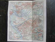 Antique map Duisburg Ruhr area germany Duitsland 1910 karte