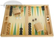 19-inch Table Top Wood Backgammon Set - Beechwood (Green/Yellow) | Board Games