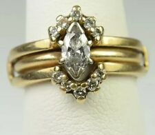 14K GOLD DIAMOND ENGAGEMENT MARQUISE SOLITAIRE RING 2-RING SET w/ WRAP 0.65 CT