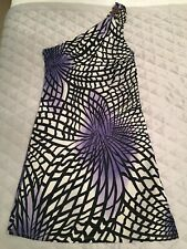 Versace Jeans Couture One Shoulder Black White Snd Purple Dress Size 30