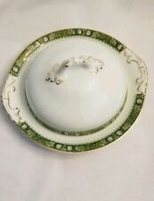 Royal Schwarzburg Round Covered Butter Dish Green and Gold Border