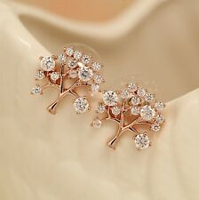 New 18K Rose Gold Filled Sparkling Elements Crystal Tree of Life Stud Earrings