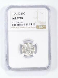 MS67 FB 1943-D - Mercury Silver Dime - NGC Graded *685