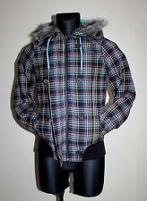 VANS Womens Checkered Padded Bomber Jacket hooded Multicolor Fits Size S Small