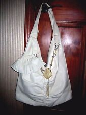Renato Angi ivory almond leather hobo purse. Made in Italy.