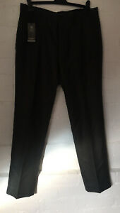 M&S Mens Tailored Fit Flat Front Trousers W/34in L/31in Gray