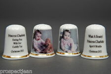 Princess Charlotte Christmas Photo 2015 Set of 2 China Thimbles B/84