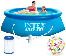 INTEX Easy Set Swimming Pool 244x76 cm Schwimmbecken Quick-Up Schwimmbad Pumpe