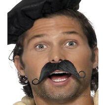 Fake French Man Black Moustache Curly Tash Mens Onion Seller Waiter Fancy Dress