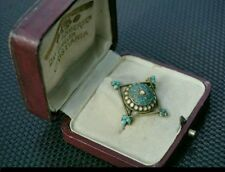 David Andersen Early Antique Norwegian Silver and Enamel Brooch in Original Box