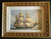 """Framed Naval Print - H.M. FRIGATE """"VINDICTIVE""""  Vintage Dollhouse 1:12"""
