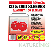 500 Humlin High Quality 100 Micron clear plastic CD DVD sleeves Side STITCH