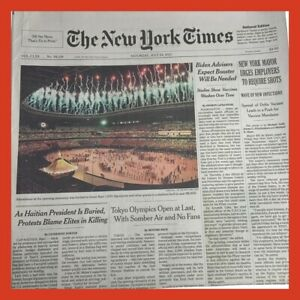 New York Times Newspaper July 24 2021 Tokyo Olympics Open at Last Somber No Fans