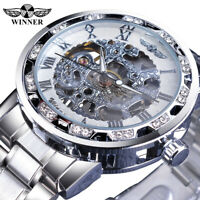 WINNER Herren Armbanduhr Luxus Edelstahl Skelett Uhr Mechanisch Handaufzug