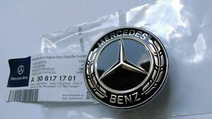 For Mercedes-Benz Black Style Hood Ornament Flat Laurel Wreath Badge Emblem