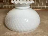 "Vtg White Milk Glass Hobnail Hurricane Oil Student Lamp Shade 10"" Fitter Ruffled"