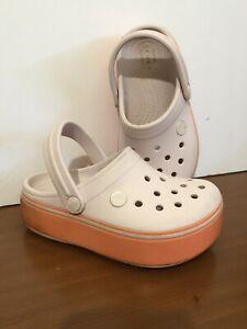 Crocs CROCBAND PLATFORM Clogs Lt Pink/Coral Girls Shoes Sz 13