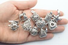 Mixed Lockets 10pcs Silver Color Pearl Cage Pendant-Essential Oils Cage Pendant