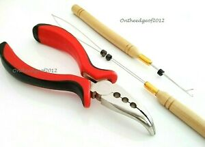 Silicone Micro Ring Beads 3PC Hair Extension Tool KITS Pliers Loop Hook-Pink/Red