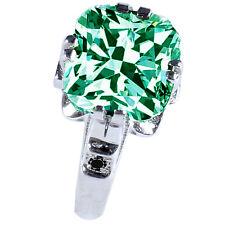 Black Diamond .925 Silver Ring 3.78 ct Vs2/Green Cushion Moissanite& Natural
