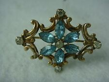 VINTAGE MINIATURE VICTORIAN BLUE CRYSTAL FLOWER PIN BROOCH PENDANT BY SIMMONS