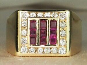Men's 14k Yellow Gold Ruby-.45 tcw & Diamond-.54 tcw Band Fine Ring-Size 9.75