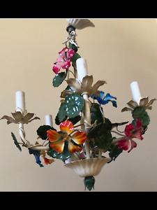 Beautiful Tole Floral Nasturtiums Chandelier Shabby Garden Chic