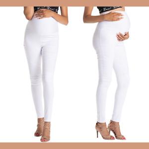 NWT $68 Preggo Leggings Moto White Maternity Leggings [ SZ Small ] #L687
