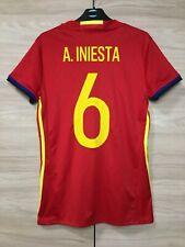 Spain 2016-2017 Iniesta #6 Home Football Soccer Women's Ladies Shirt sz L 16-18